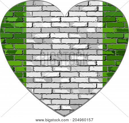 Flag of Nigeria on a brick wall in heart shape - Illustration, Abstract grunge Nigeria flag