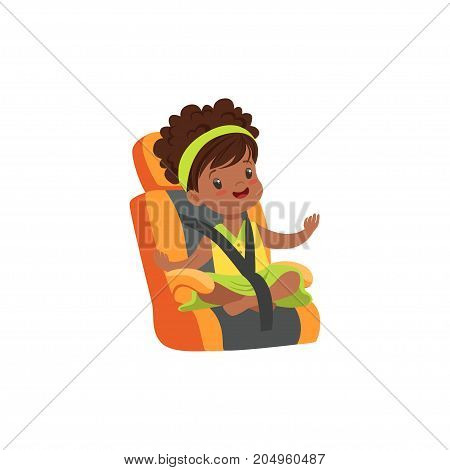 Adorable african little girl sitting in orange car seat, safety car transportation of small kids vector illustration isolated on a white background