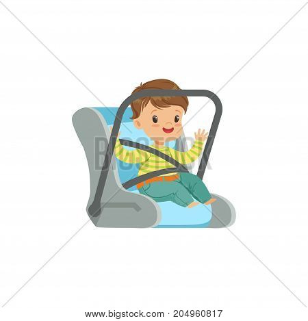Cute little boy sitting in car seat, safety car transportation of small kids vector illustration isolated on a white background