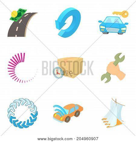 Hijacking icons set. Cartoon set of 9 hijacking vector icons for web isolated on white background