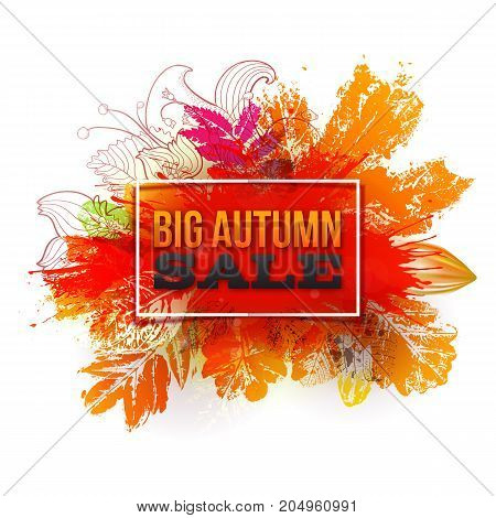 Autumn foliage vector sale banner. Big discount label with ink stamp leaves and blots. Bright sale logo