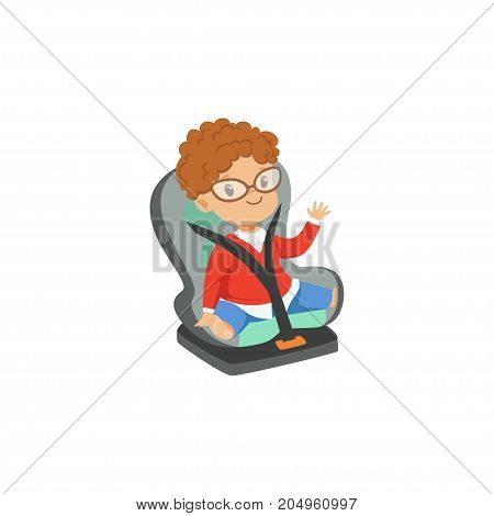 Cute little boy in glasses sitting in car seat, safety car transportation of small kids vector illustration isolated on a white background