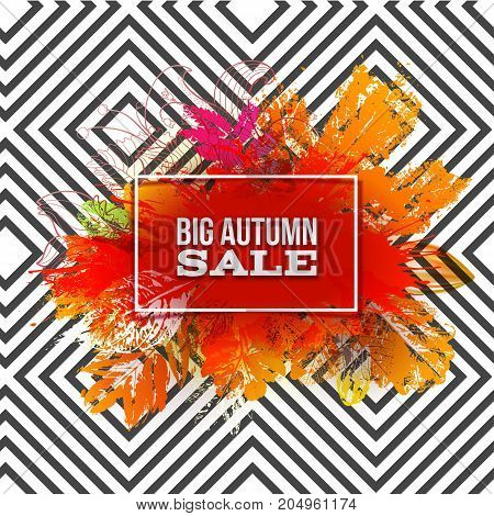 Autumn foliage vector sale banner on modern geometric pattern. Big discount label with ink stamp leaves and blots. Bright sale logo