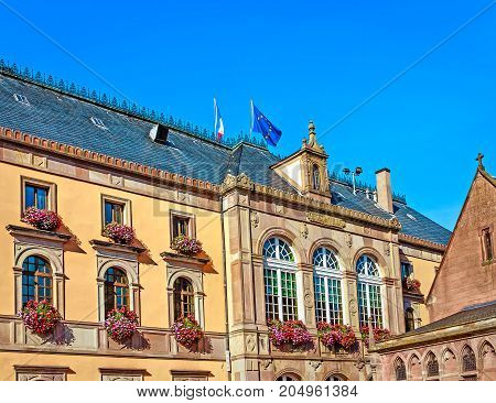Neo-Renaissance style picturesque town hall at the market square in Obernai, near Strasbourg, Alsace, France