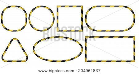 Set of 3D frames, yellow and black stripes ribbon pattern, vector, warning of the danger of the industrial framework, the concept of safety, construction border