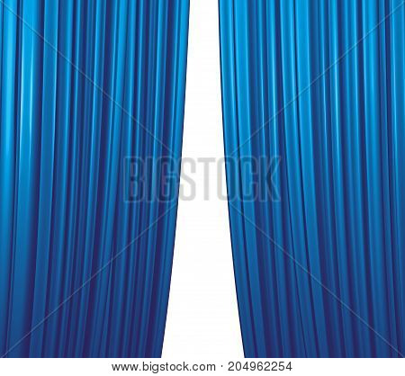 Illuminated blue curtain closing on white background