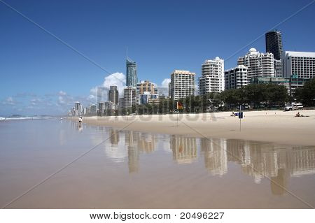 Waterfront skyline with famous Q1 skyscraper - Surfers Paradise city in Gold Coast region of Queensland Australia poster