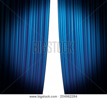 Illuminated blue curtain closing on white background with round spotlight