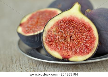 Close up of fresh figs on a plate