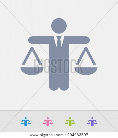 Businessman Holding Scales - Granite Icons. A professional, pixel-perfect icon designed on a 32 x 32 pixel grid and redesigned on a 16 x 16 pixel grid for very small sizes.