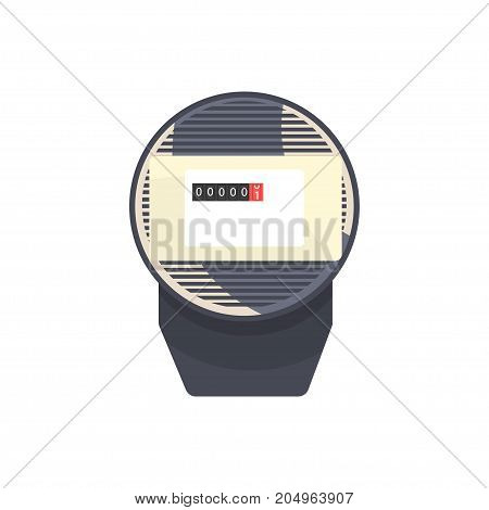 Black typical analog electric meter, household measuring device vector illustration isolated on a white background