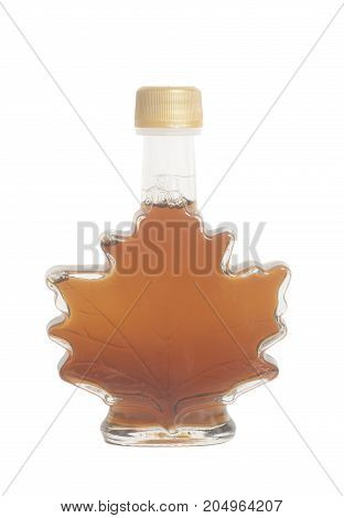 Canadian maple delicious syrup in a bottle isolated on white background .