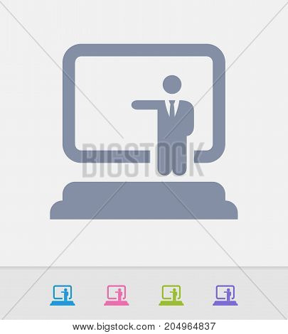 Businessman Holding Seminar - Granite Icons. A professional, pixel-perfect icon designed on a 32 x 32 pixel grid and redesigned on a 16 x 16 pixel grid for very small sizes.