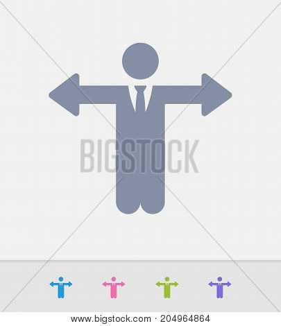 Businessman With Arrow Hands - Granite Icons. A professional, pixel-perfect icon designed on a 32 x 32 pixel grid and redesigned on a 16 x 16 pixel grid for very small sizes.