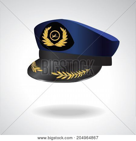 Light Background Aviator Peaked cap of the pilot. Civil aviation and air transport. Editable Vector illustration.