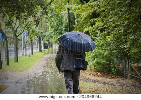 Overcast weather walking outdoor. Rainy autumn day. Man with umbrella walk in park