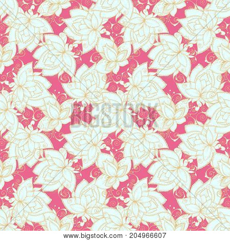 Seamless Pattern With Flowers And Bright Colors
