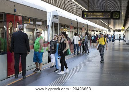 VIENNA, AUSTRIA - 23 AUGUST 2017: The metro station Austria in the city of Vienna.