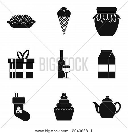 Cool holiday icons set. Simple set of 9 cool holiday vector icons for web isolated on white background