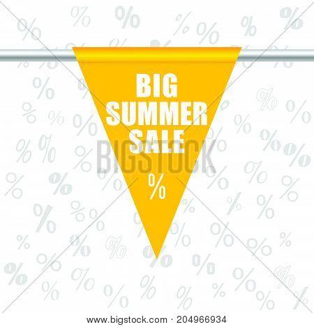 Big Summer Sale Icon In Yellow Illustration