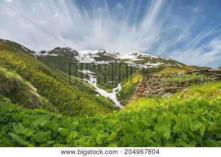 magnificent view of the Caucasus Mountains in Upper Svaneti and the beautiful sky in the background, Georgia