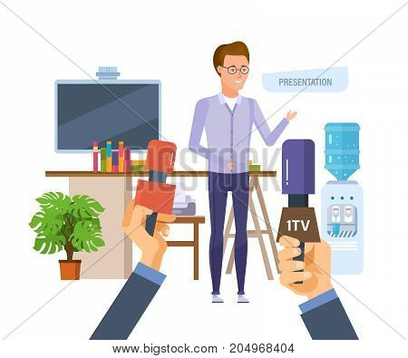 Presentation, business seminar in office next to workplace. Professional corporate training about marketing, education for colleage, conference. Vector illustration isolated in cartoon style.