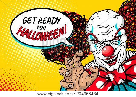 Get ready for Halloween! Evil scary clown monster with big red bow tie smiles rises his hand and speech bubble. Vector illustration in retro comic style. Bright pop art background. Party invitation.