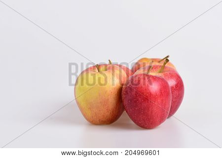 Apple Fruits On Light Grey Background. Apples In Bright Color
