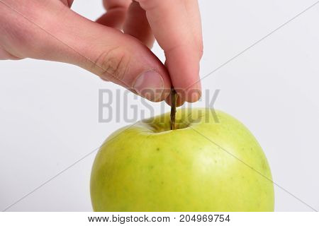 Apple In Bright And Juicy Color. Health And Nutrition Concept.