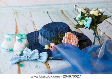 Accessories For Future Mom Awaiting For Baby Boy Blue Hat Knitted Booties Bouquet With Toy Stork And