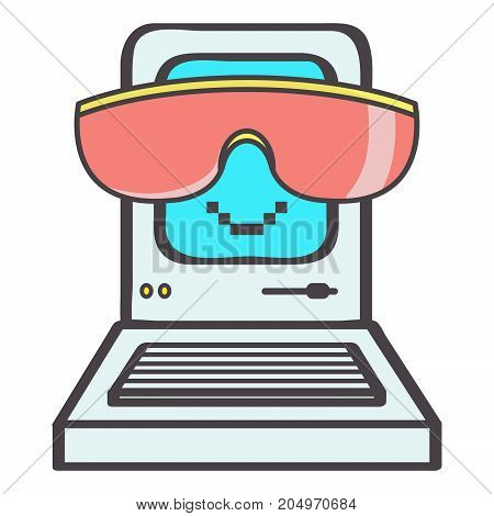 Cute little eighties computer emoticon with big pink sunglasses smiling, vector cartoon isolated on white background