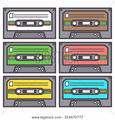 Colorful vector set of six eighties cassettes for tape recorder, isolated on white background