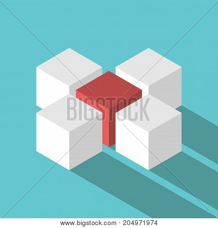 Isometric unique red leader cube in the middle of four white ones on turquoise blue background with long shadow. Leadership management organization and teamwork concept. Flat design