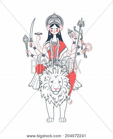 Icon Of Goddess Durga   Two Colors