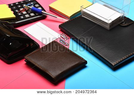 Mans Leather Wallet As Business And Work Concept