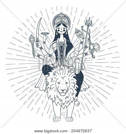 Silhouette Of Goddess Durga Rays