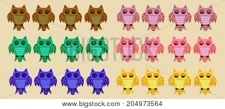 A Large Set Of Twenty-four Owls In The Color Variations Of Brown, Green, Blue, Pink, Yellow With Var