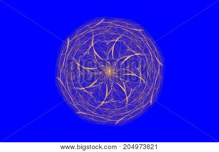 abstract fractal golden symmetric figure on blue, illustration
