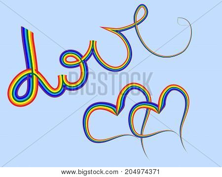 Love. A Word And Two Hearts Written In A Rainbow Font. Symbols Of Same-sex Couples, Gay Couples . Lg