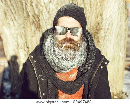Handsome Bearded Man Smokes Cigarette