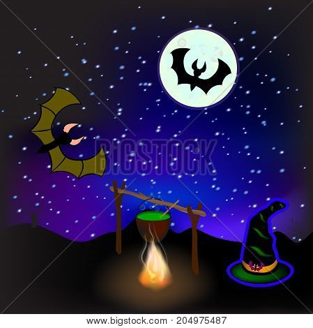 Halloween. Pot with a potion . Magic hat . Bat on moon background . Vector illustration