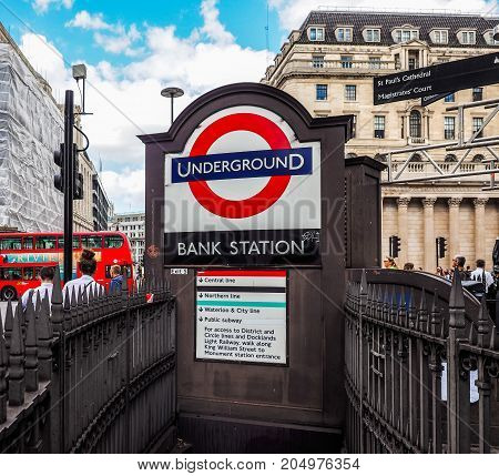 Bank Tube Station In London, Hdr