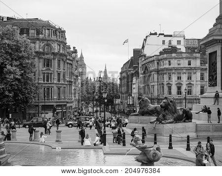 People In Trafalgar Square In London Black And White