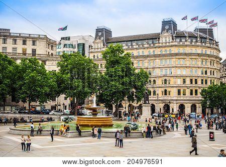 People In Trafalgar Square In London, Hdr