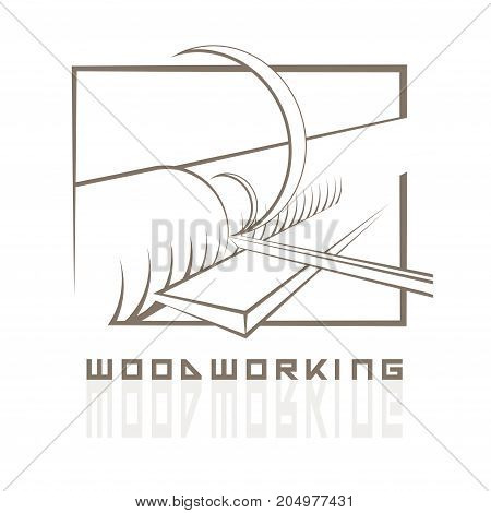 illustration in the form of a lathe and a tool in the form of a symbol