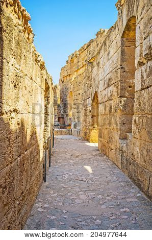 The Narrow Corridor Of El Jem Amphitheater