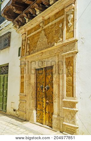The Entrance To Historic Mansion In Tunis Medina