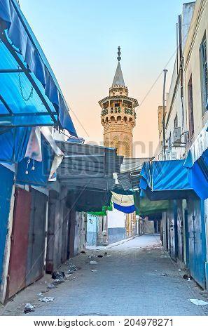 The Minaret Of Youssef Dey Mosque In Tunis