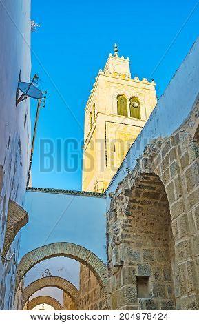 The Minaret Of Ksar Mosque In Tunis