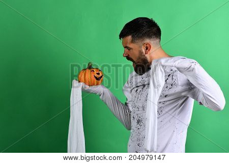 Halloween And Happy Holiday Concept. Guy With Beard